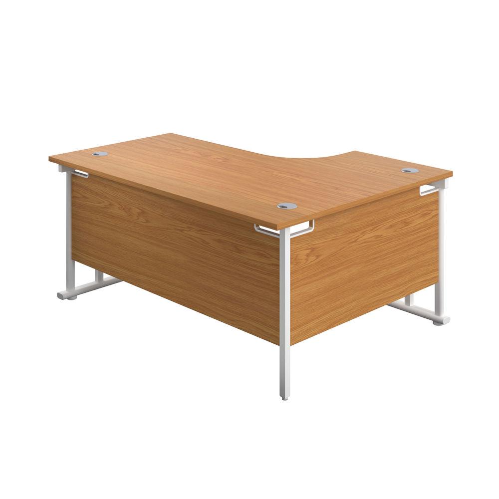Jemini 1800mm Nova Oak/White Cantilever Left Hand Radial Desk