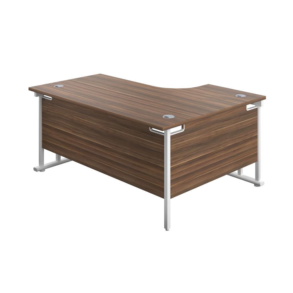 Jemini 1800mm Dark Walnut/White Cantilever Left Hand Radial Desk