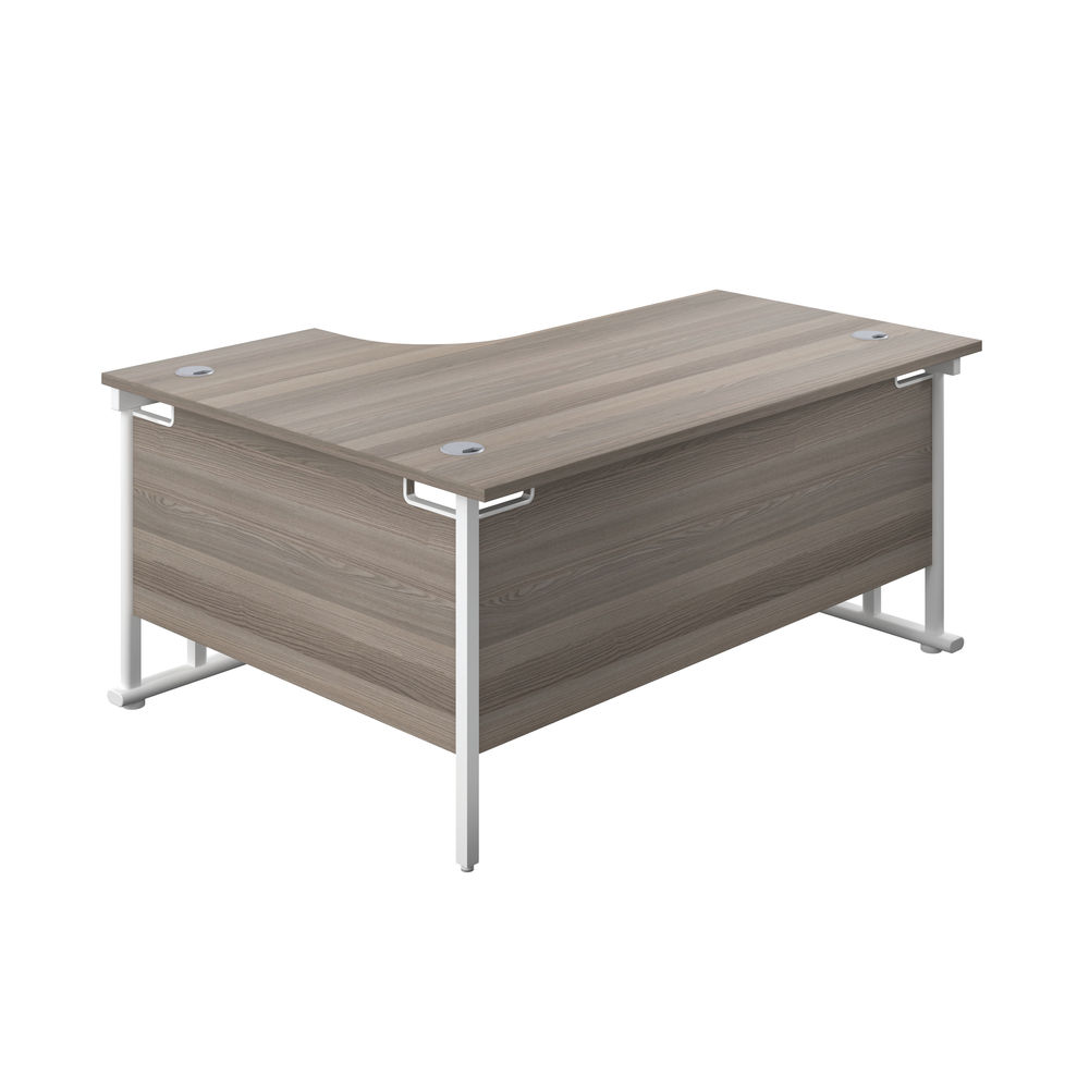 Jemini 1800mm Grey Oak/White Cantilever Right Hand Radial Desk