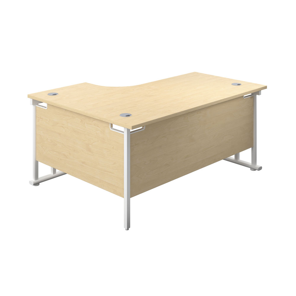 Jemini 1800mm Maple/White Cantilever Right Hand Radial Desk