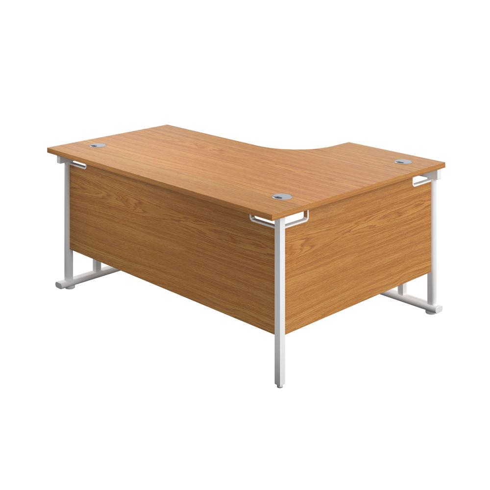 Jemini 1600mm Nova Oak/White Cantilever Left Hand Radial Desk