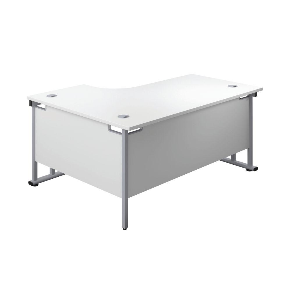 Jemini 1800mm White/Silver Cantilever Right Hand Radial Desk