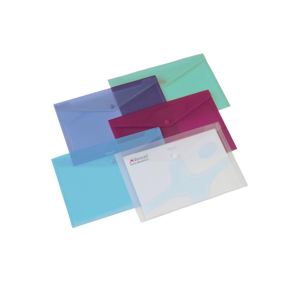 Snopake A4 Fusion Stud Wallets Document Folders Popper Pack Of 5