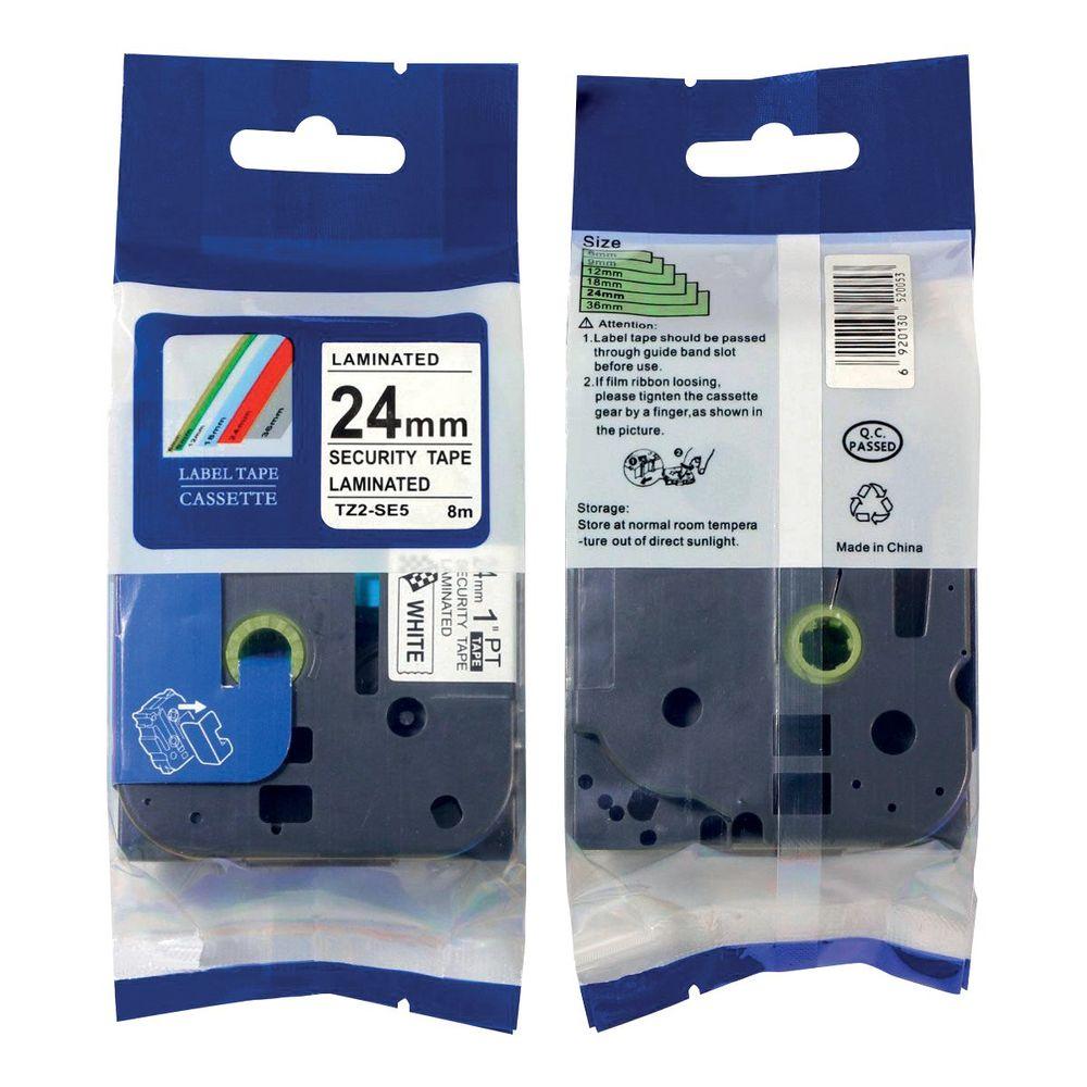 Brother TZe-SE5 Labelling Tape 24mm Black on White TZESE5