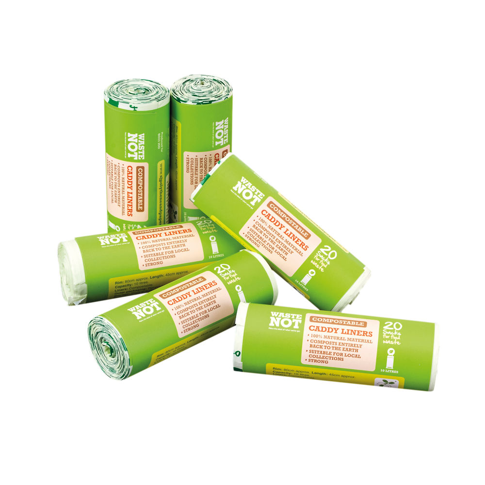 Waste Not Compostable Caddy Liner Bags, Pack of 6 - 10629