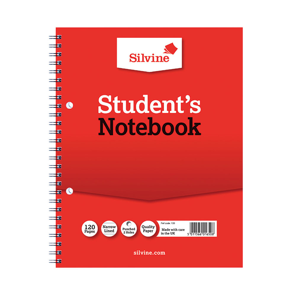 Silvine Small Students 228 x 178mm Notebook, Red - Pack of 12 - 139