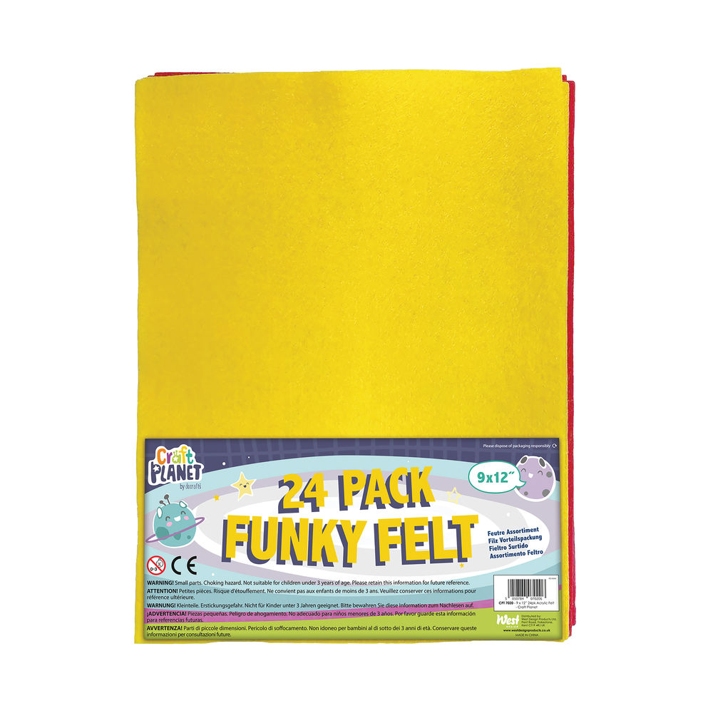 Acrylic Funky Felt Value Pack 9x12 Inch (Pack of 24) CPT 7020