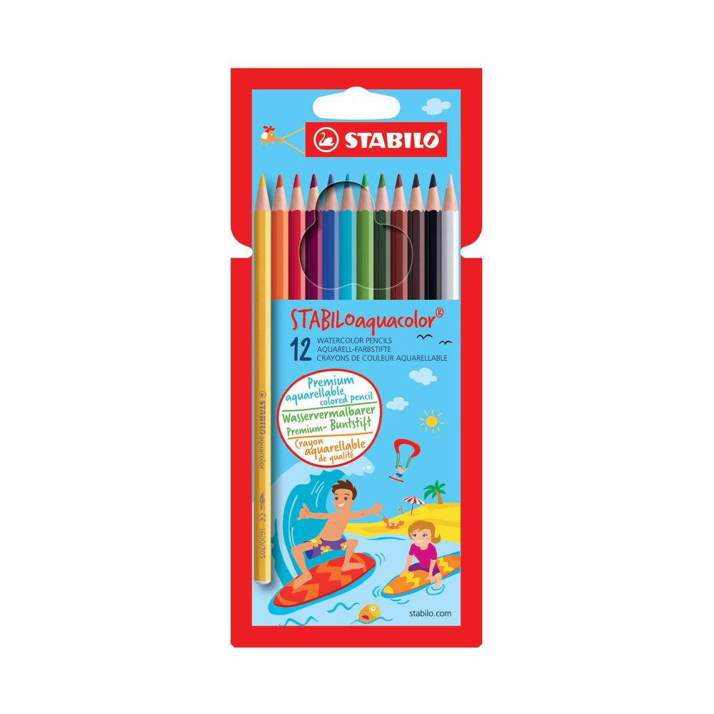 Stabilo Aquacolor Aquarellable Coloured Pencils (Pack of 12) 1612-6