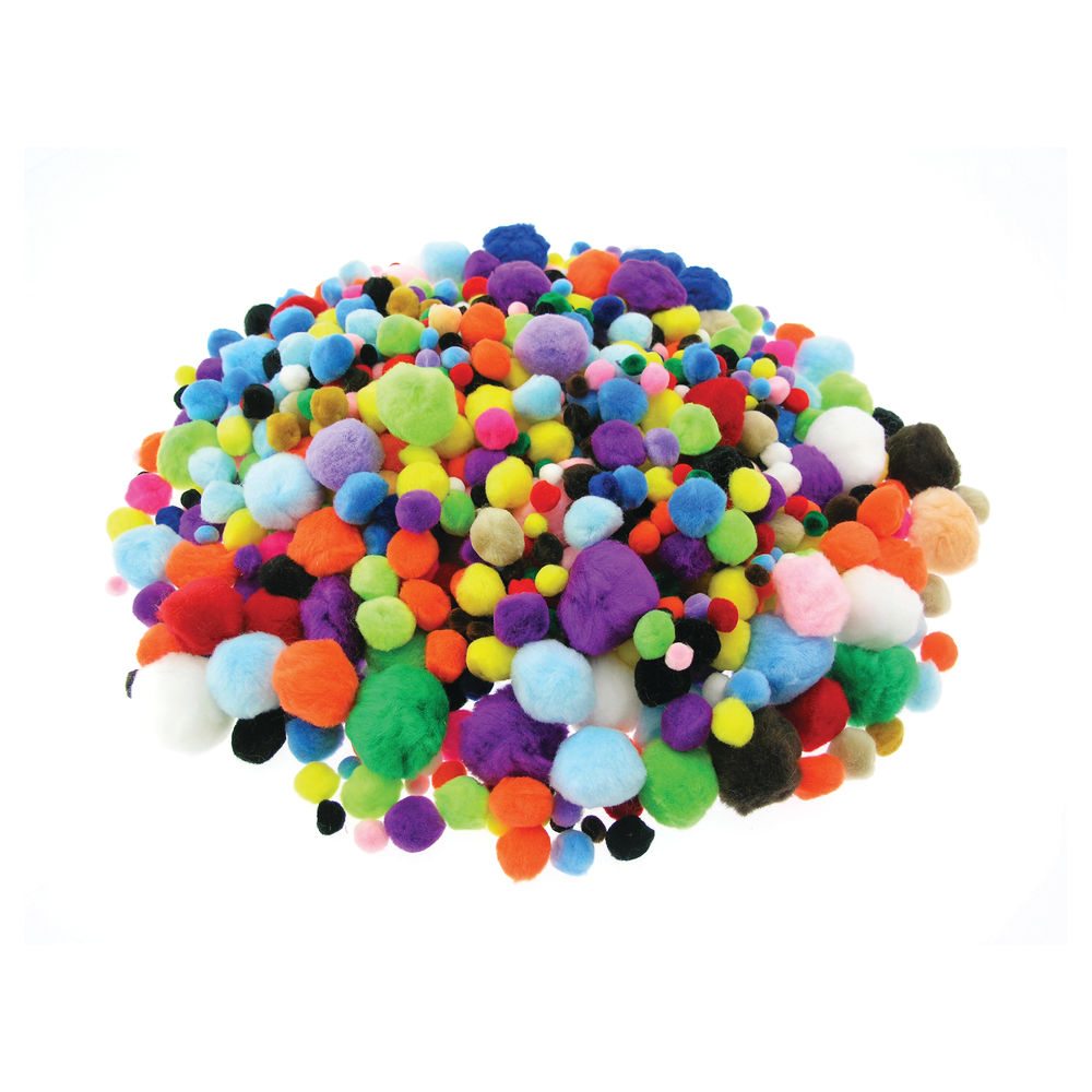 Acrylic Pom Poms Assorted Colours and Sizes (Pack of 1000) DW1859614