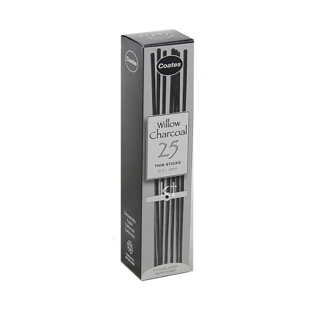 Willow Charcoal Thin 2-4mm (Pack of 25) CWCT25