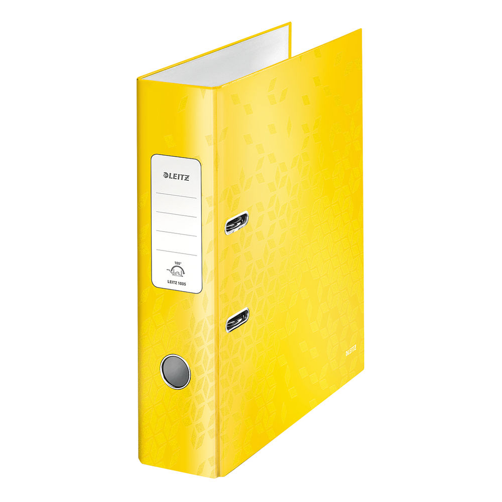 Leitz WOW Yellow A4 180 Lever Arch Files, Pack of 10 - 10050016