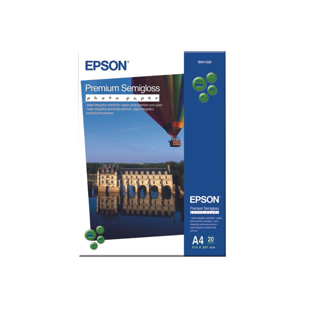 Epson Premium White A4 Semi-Gloss Photo Paper, 251gsm - 20 Sheets - C13S041332