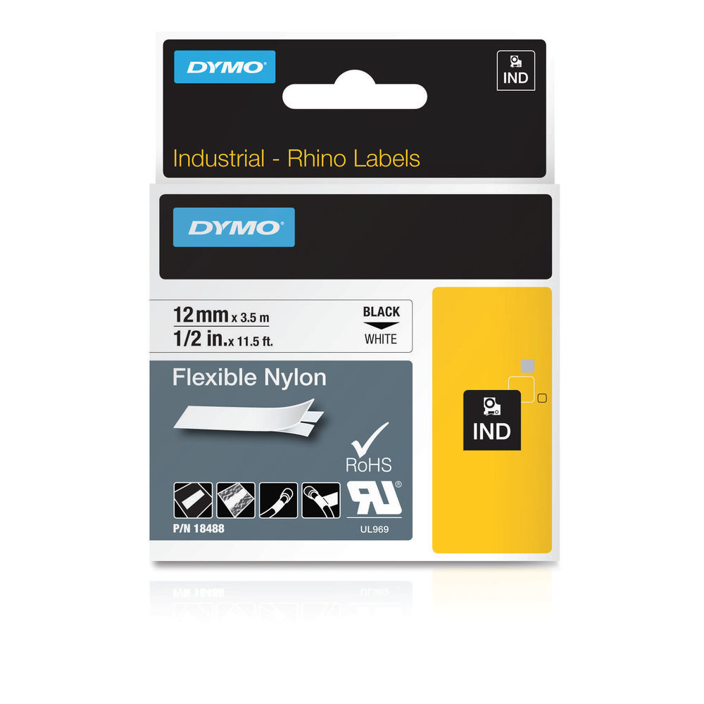 Dymo Rhino Flexible Nylon Label Tape, Black on White, 12mm x 3.5m - S0718100