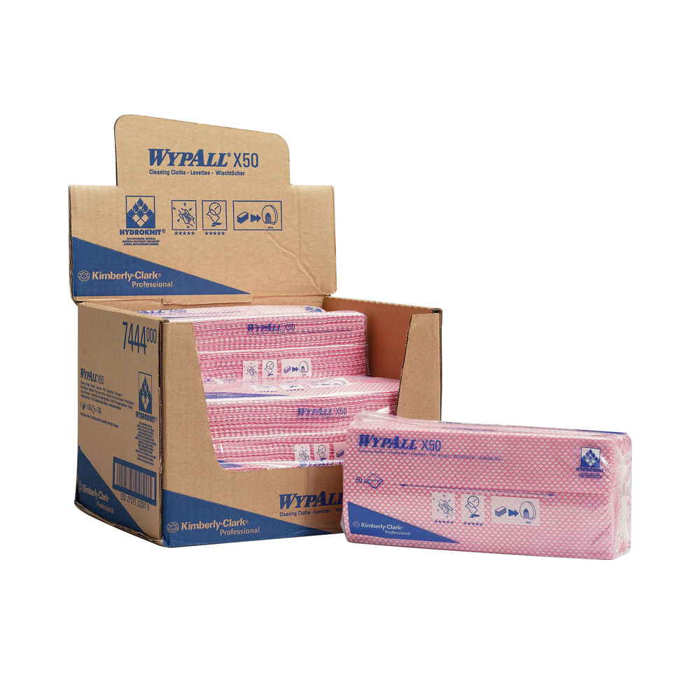 Wypall X50 Red Cleaning Cloths, Pack of 50 - 7444