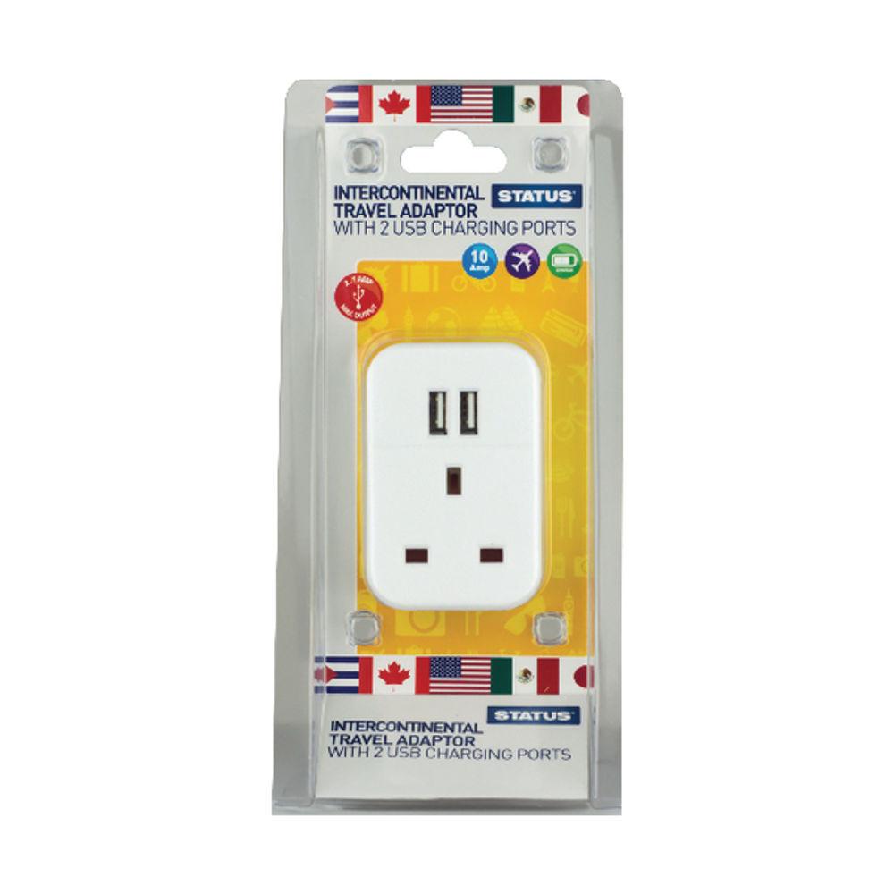 Status Intercontinental USB Travel Adaptor (Pack of 3) S2USBPTINTER1PK3