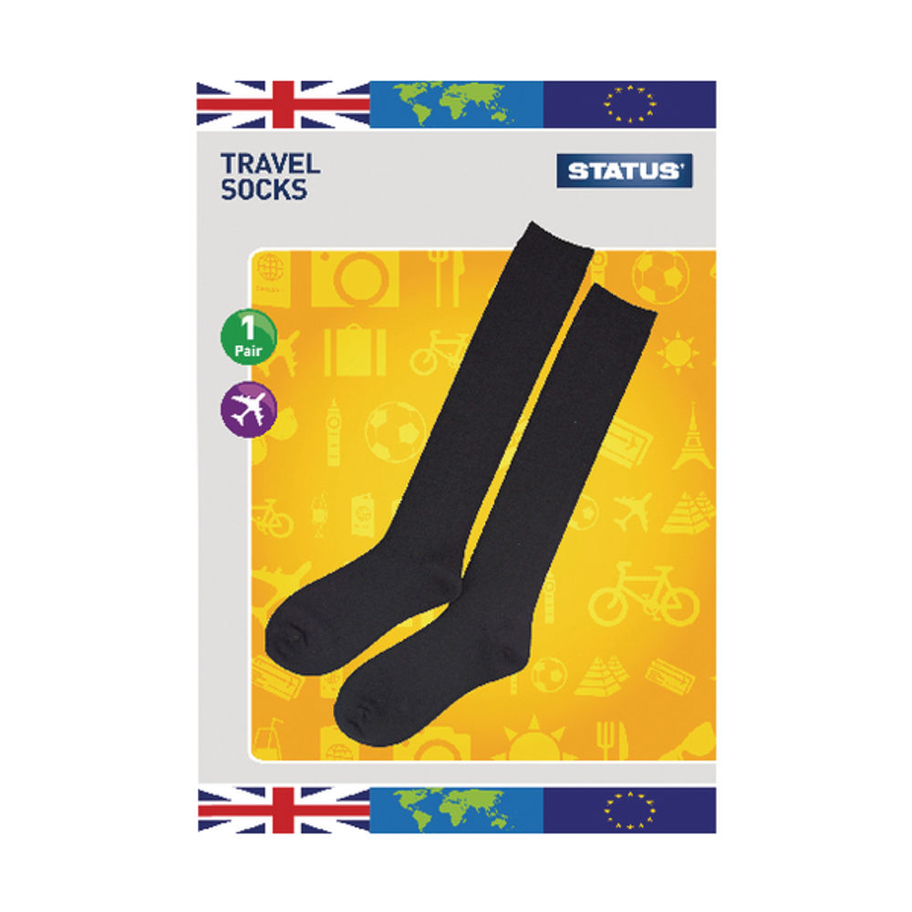 Status Black Travel Socks Size 6-9 (Pack of 10) STRAVELSOC1PKB10