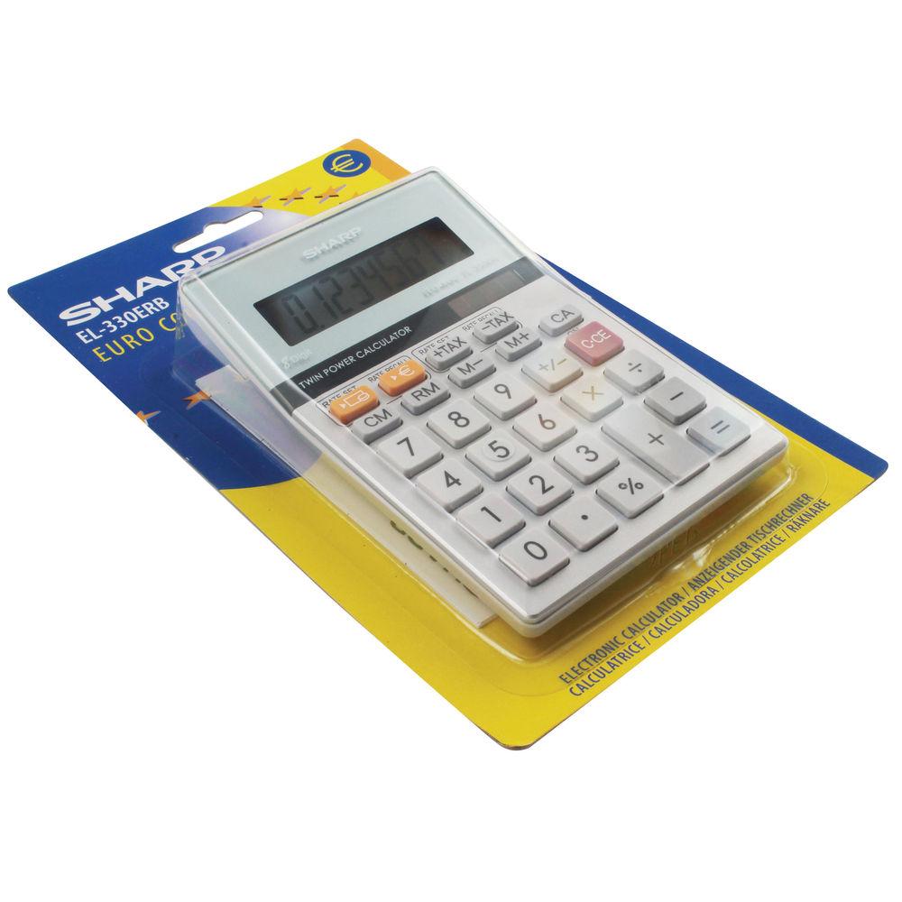 Sharp Silver Semi Desktop Calculator, 8 Digit Display - EL-330ER