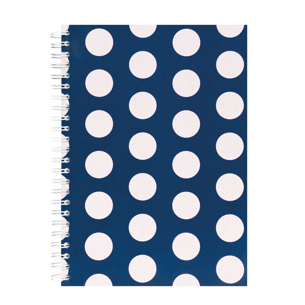 Go Stationery Navy Large Polka Dot A5 Notebook - 5NC402A