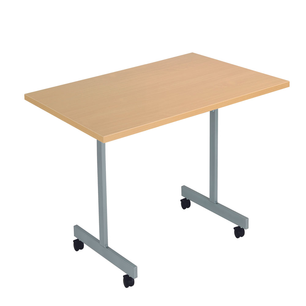 Jemini 1200x700mm Nova Oak/Silver Rectangular Tilting Table