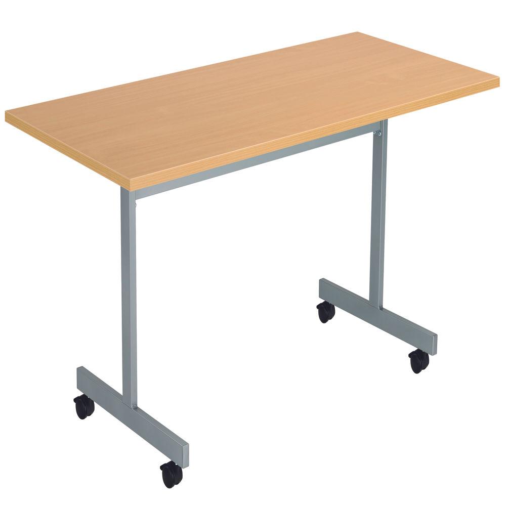 Jemini 1800x800mm Nova Oak/Silver Rectangular Tilting Table