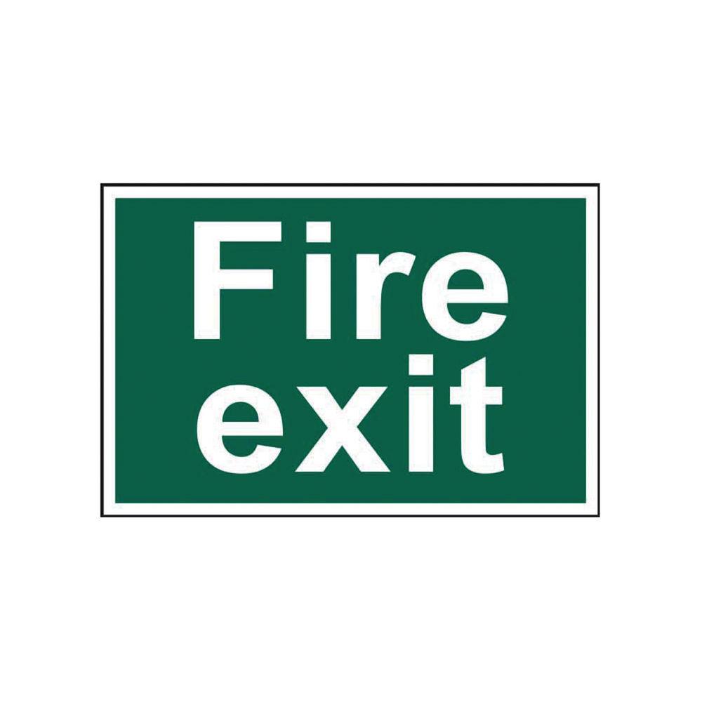 Spectrum Industrial Fire Exit Text S/A PVC Sign 300x200mm 1502
