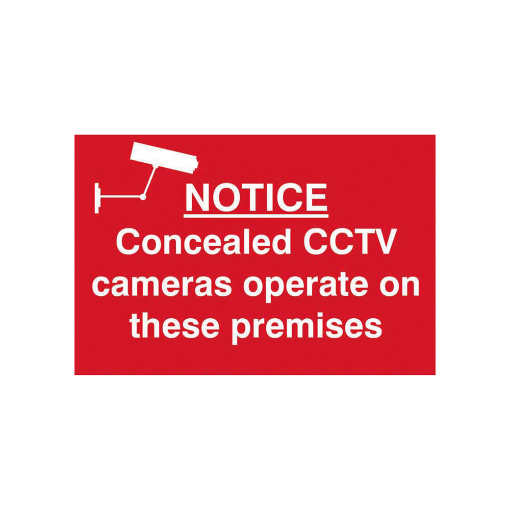 Spectrum Industrial Concealed CCTV Cameras S/A PVC Sign 300x200mm 1607