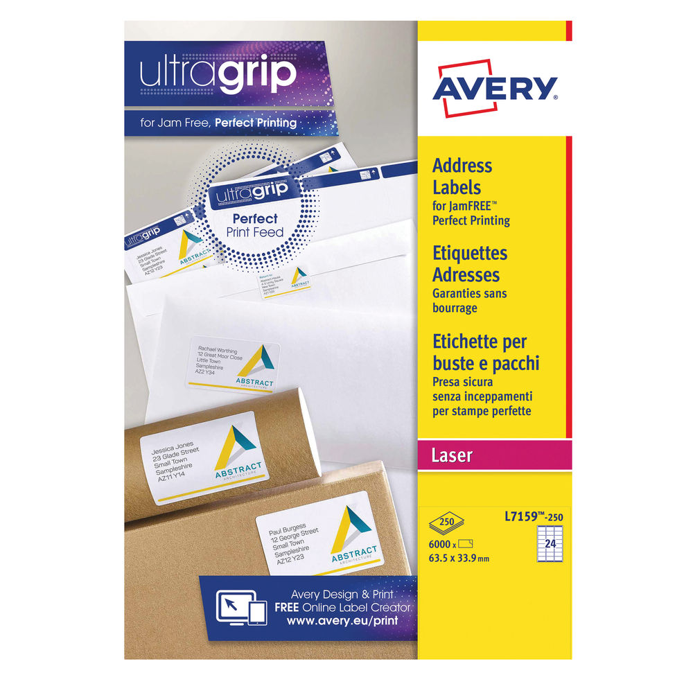 Avery White QuickPEEL Laser Address Labels 63.5x33.9mm, Pack of 6000 - L7159-250