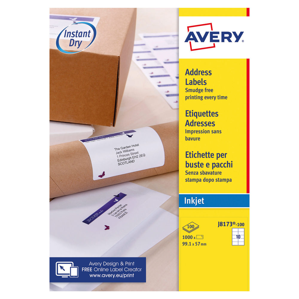 Avery 99.1 x 57mm White Address Inkjet Labels, Pack of 1000 - J8173-100