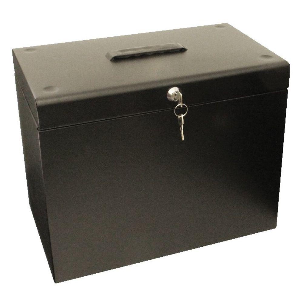 Cathedral Black A4 Lockable Metal Box File - A4BK