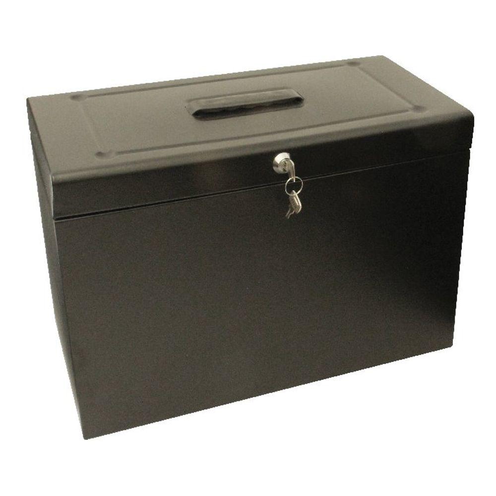 Cathedral Black Foolscap Lockable Metal Box File - HOBK