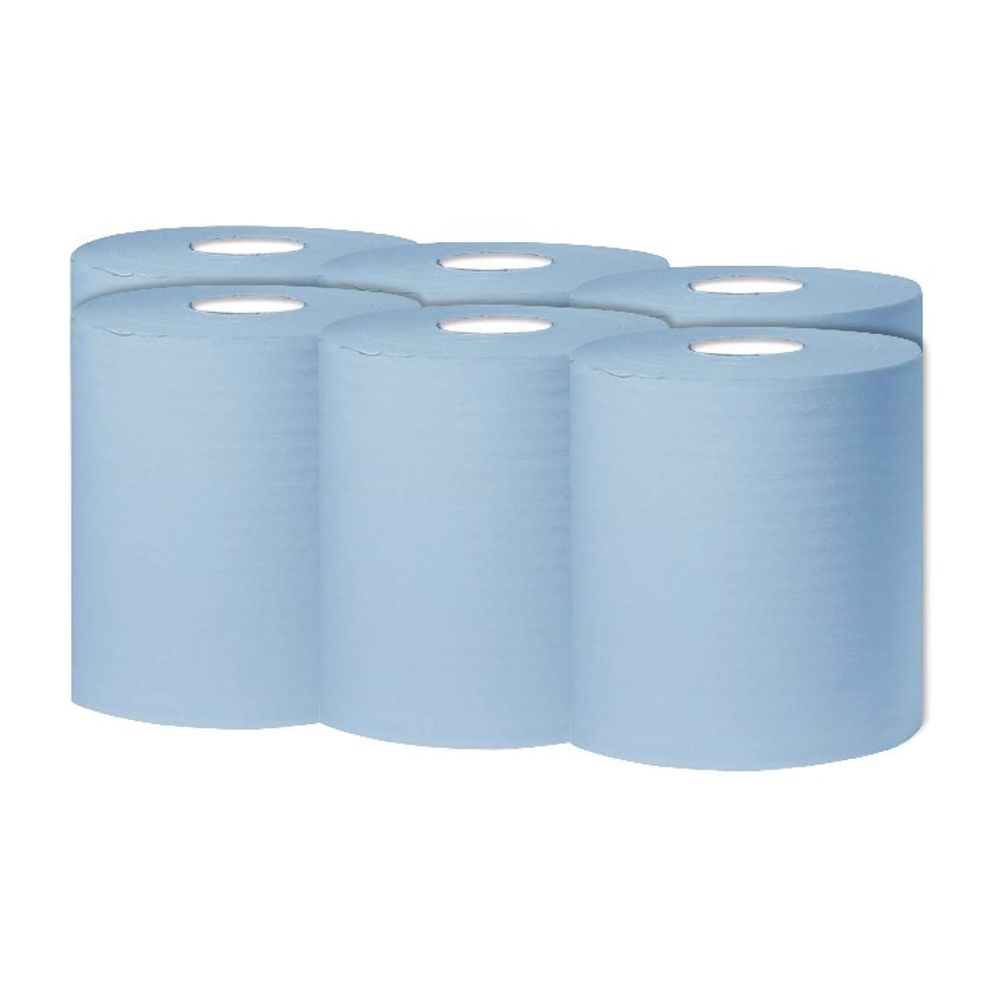 2Work 300m Blue 1-Ply Centrefeed Rolls, Pack 6 - KF03803