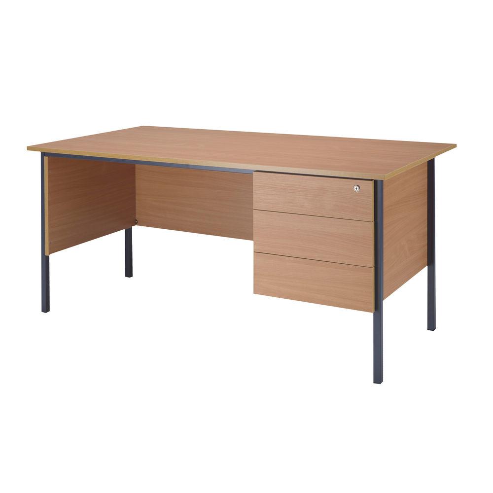 Serrion 1500mm Bavarian Beech 3 Drawer Pedestal 4 Leg Desk