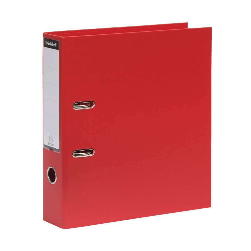 Guildhall Red A4 Lever Arch File 70mm, Pack of 10 - 222/2002Z