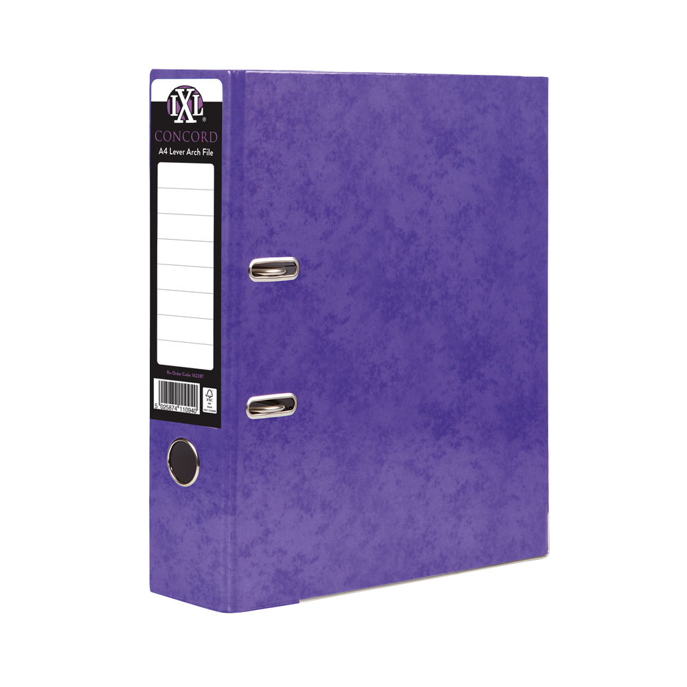 Concord IXL 70mm Selecta Lever Arch File A4 Purple (Pack of 10) 162287