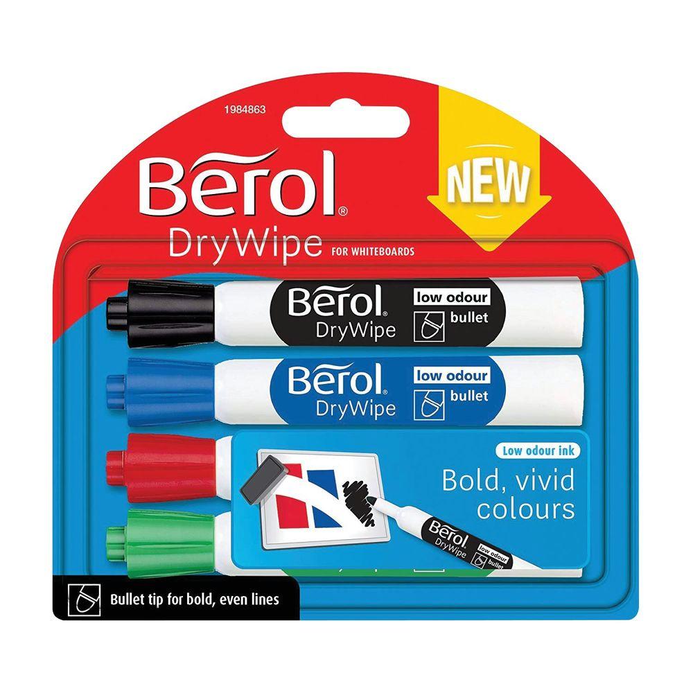 Berol Assorted Standard Drywipe Markers, Pack of 48 - 1984864