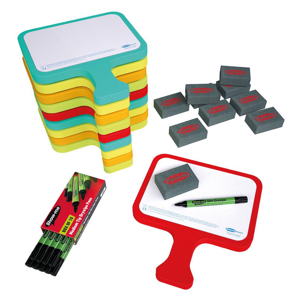 Show-me Plain Magnetic Foam Bat Whiteboards Classroom Pack - CEFBAP10