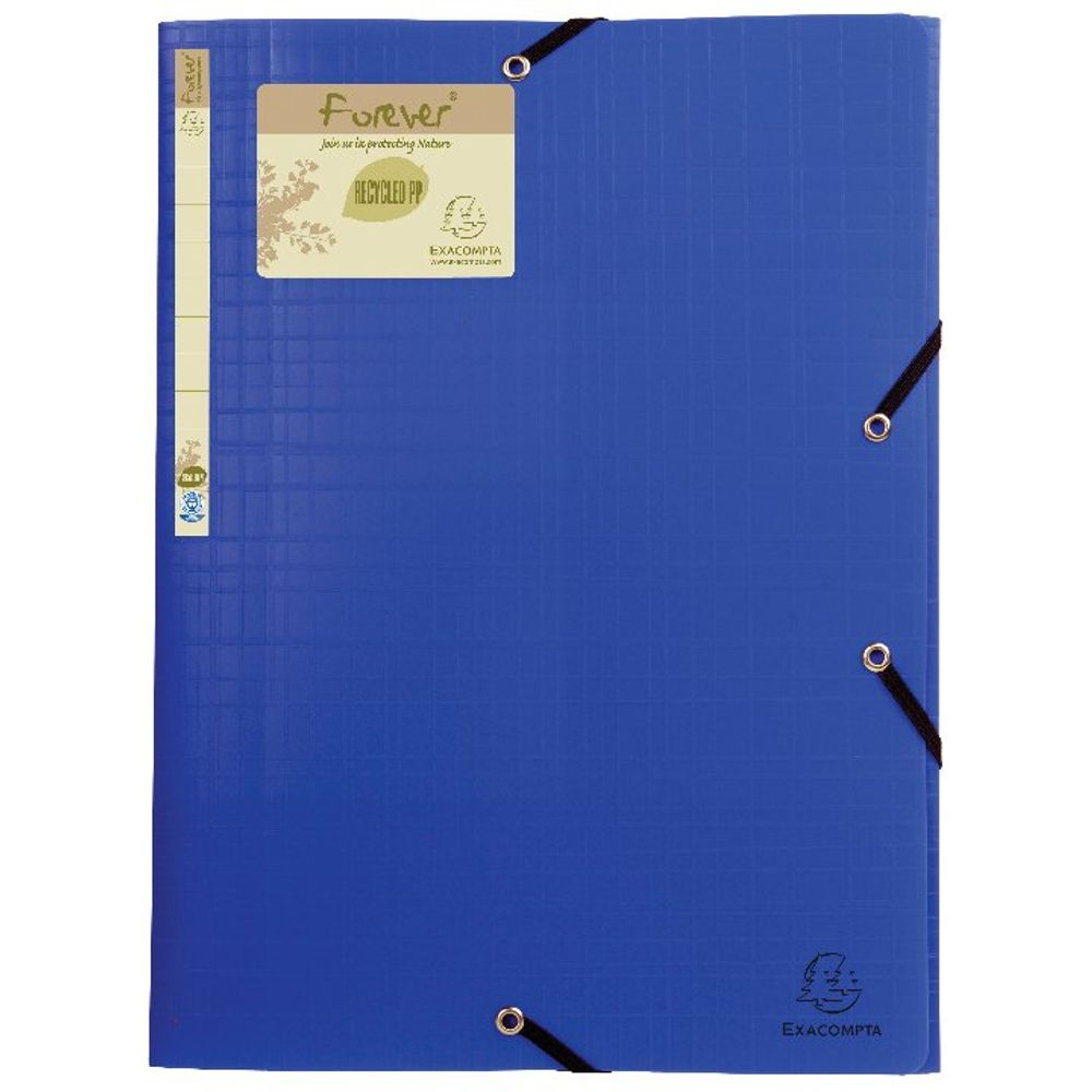 Exacompta Forever Elasticated 3 Flap Folder Blue (Pack of 15) 551572E