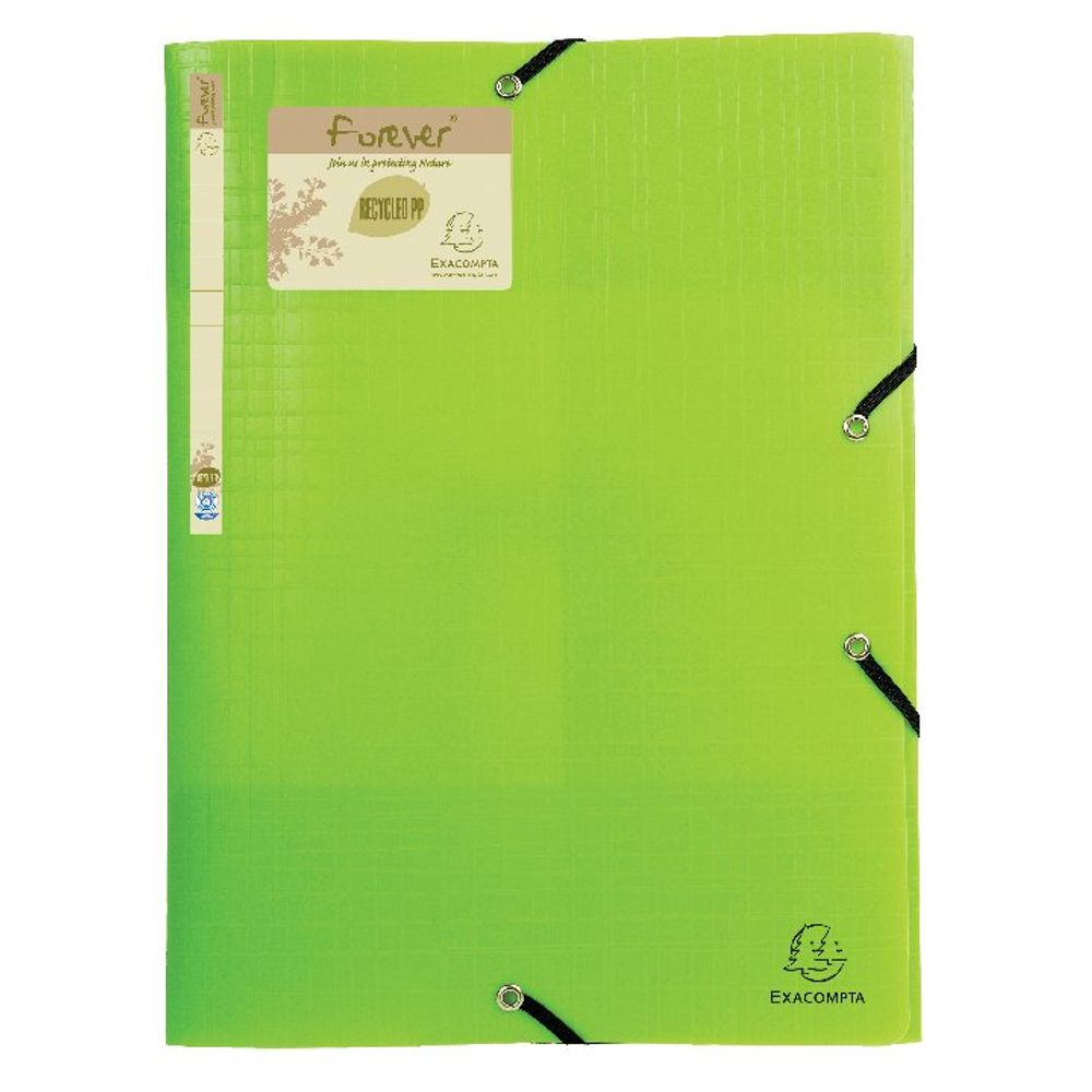 Exacompta Forever Elasticated 3 Flap Folder Lime (Pack of 15) 551573E