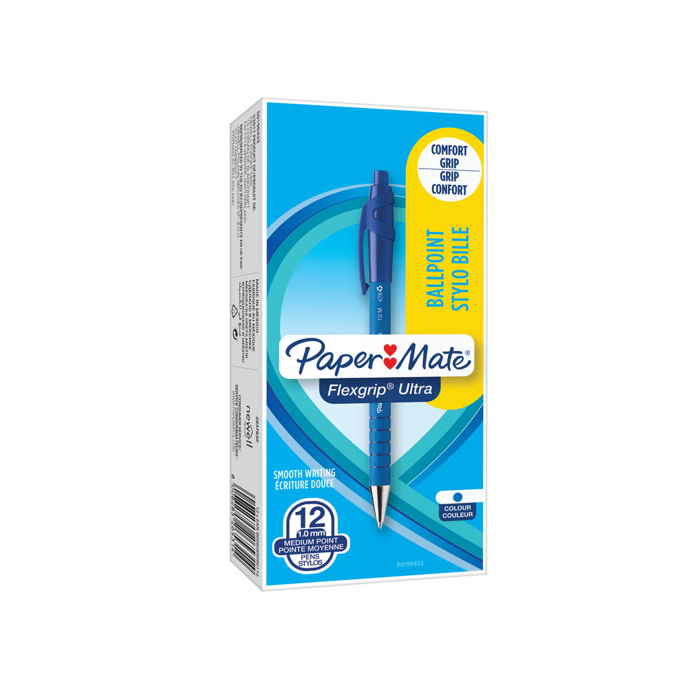 Paper Mate Blue FlexGrip Ultra Ballpoint Pens, Pack of 12 - S0190433