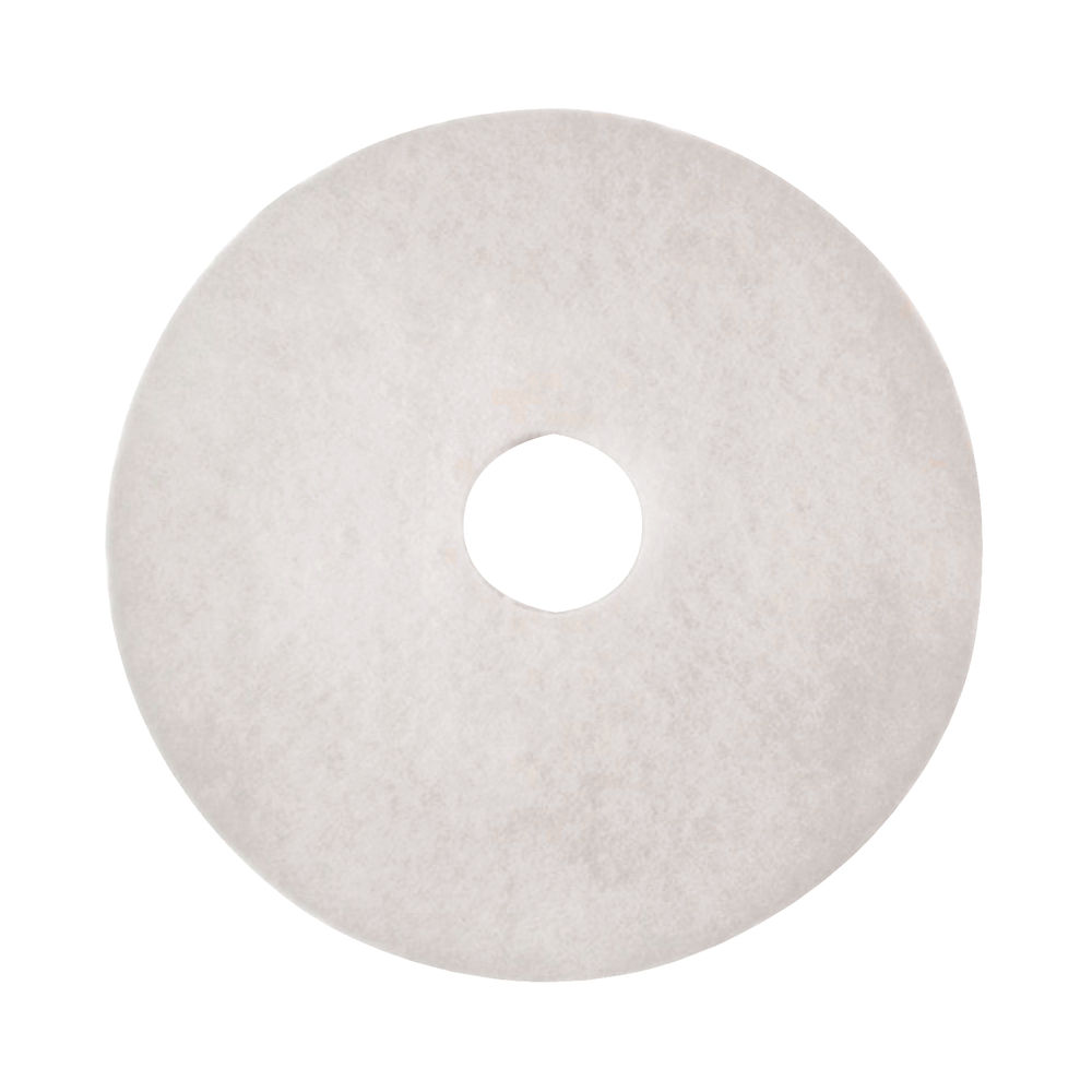 3M 380mm White Polishing Floor Pads, Pack of 5 - 2NDWH15