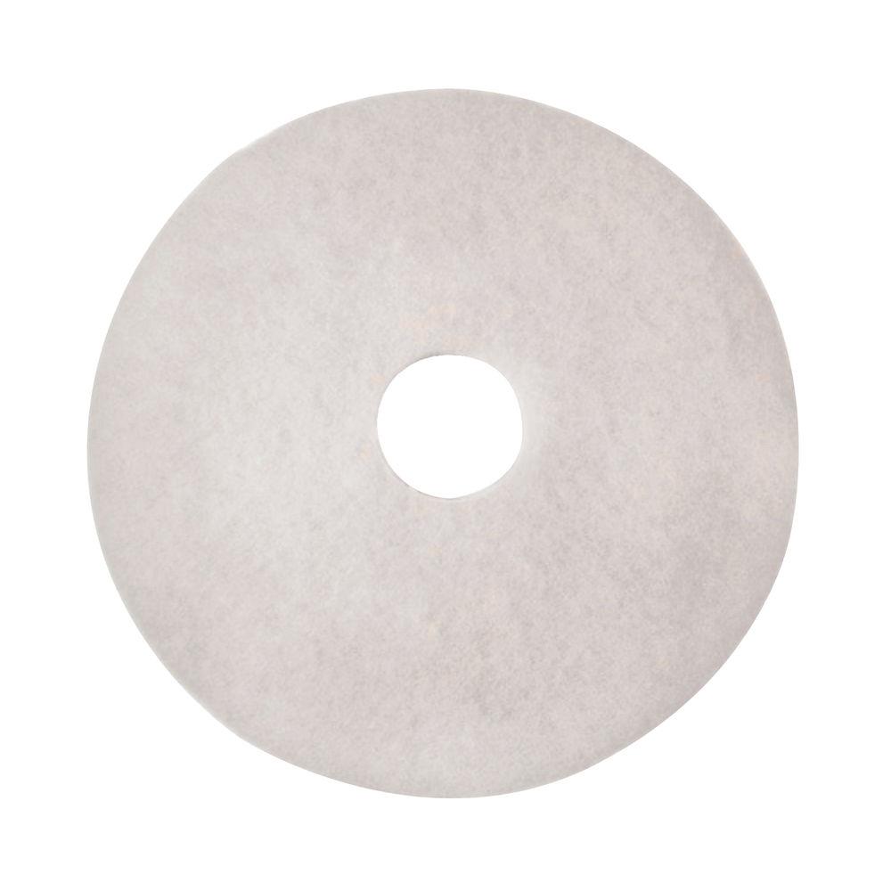3M 430mm White Polishing Floor Pads, Pack of 5 - 2NDWH17