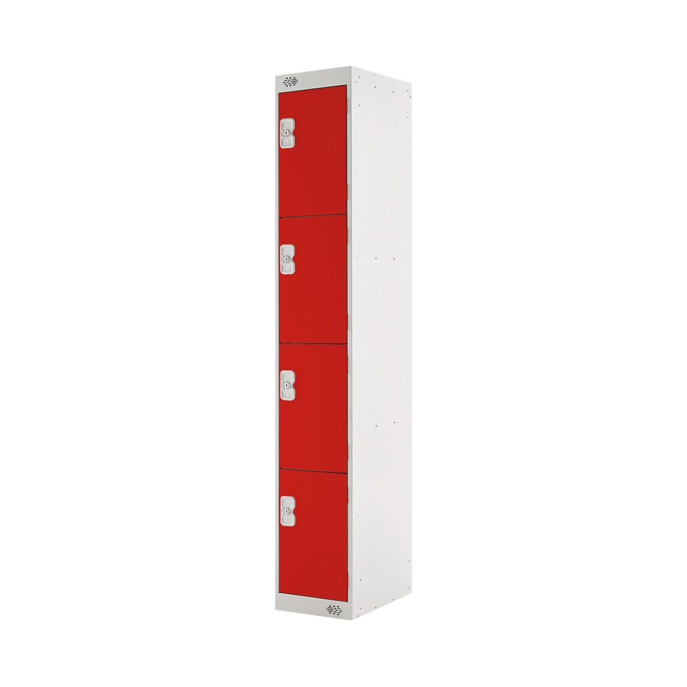 Four Compartment D450mm Red Locker - MC00059