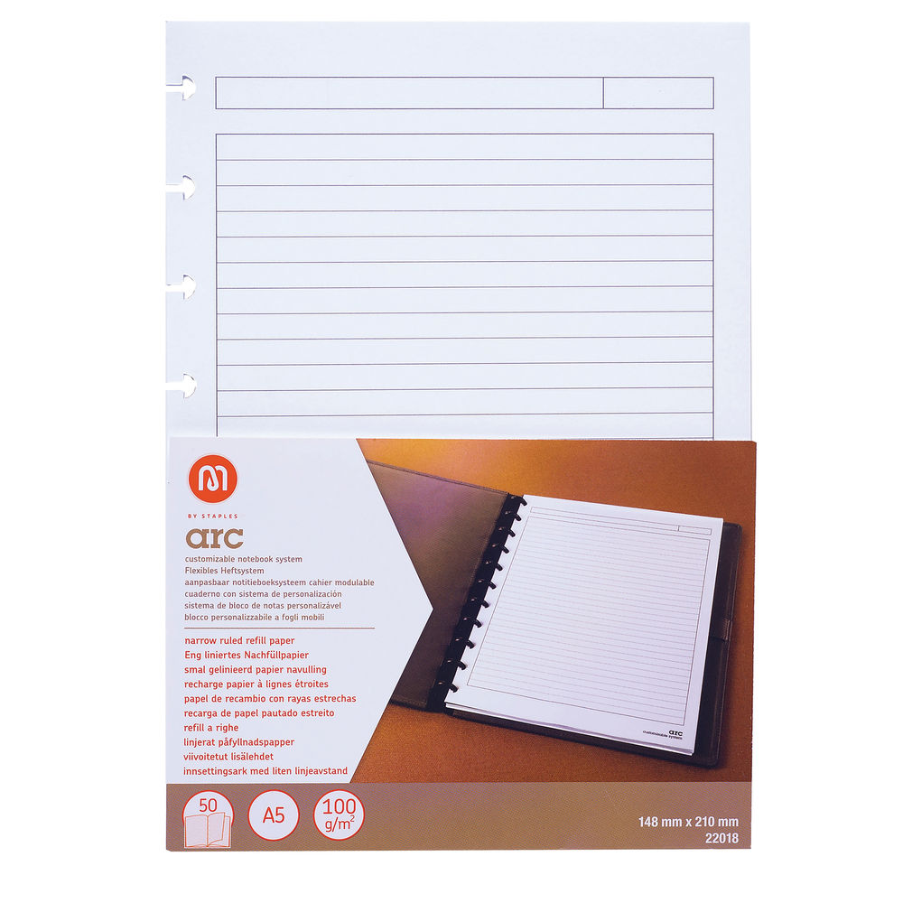 M By Staples ARC Ruled Notebook Refill Pad A5 (Pack of 50) 8851114
