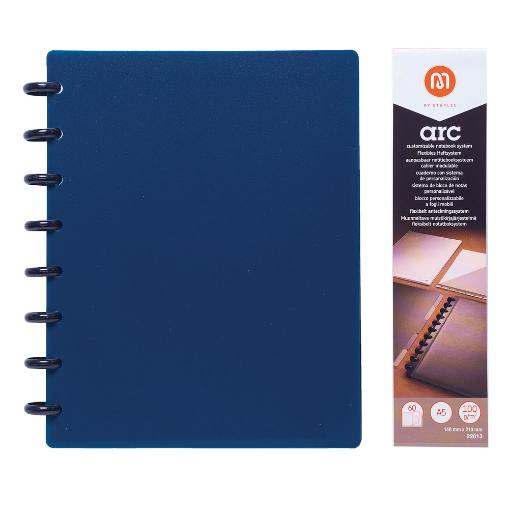 M By Staples ARC Notebook PP Cover Lined 60 Sheets A5 Blue 8851110