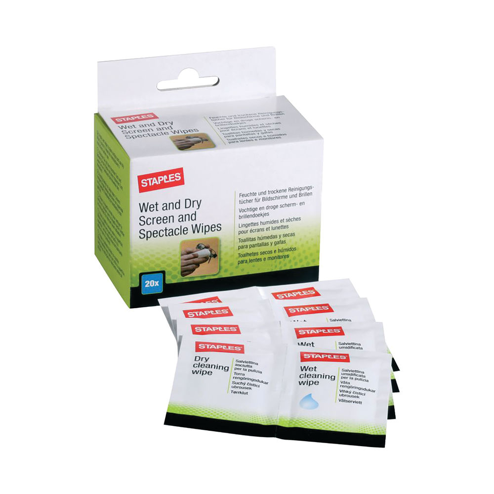 Staples Screen and Glasses Wipes Moistened Disposable (Pack of 100) AMCA100STP