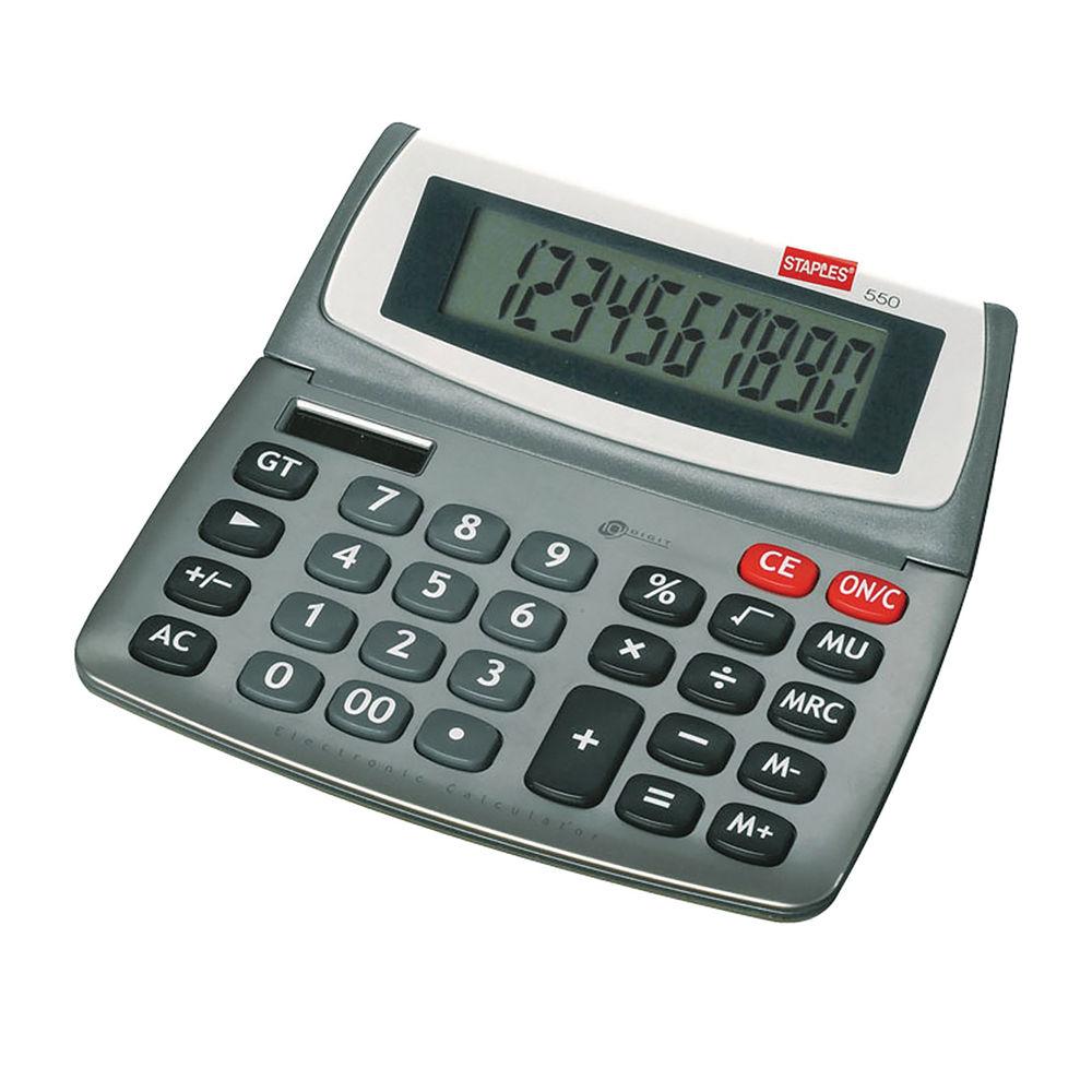 Staples 540 Desktop Calculator 10-Digit Grey and White 7232953