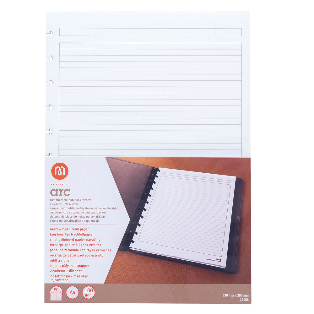 M By Staples ARC Ruled Notebook Refill Pad 50 Sheets A4 8851105
