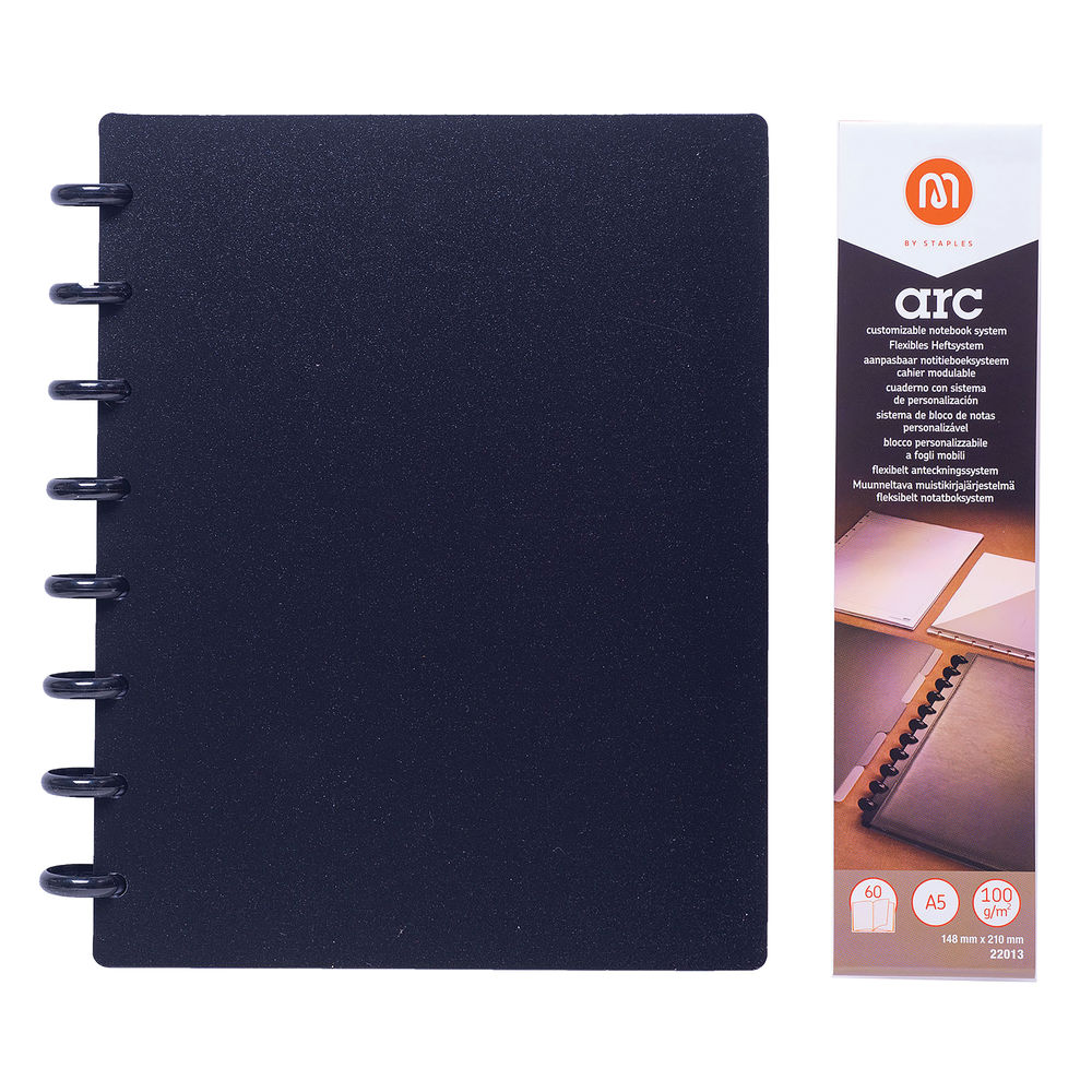 M By Staples ARC Notebook PP Cover Lined 60 Sheets A5 Black 8851109