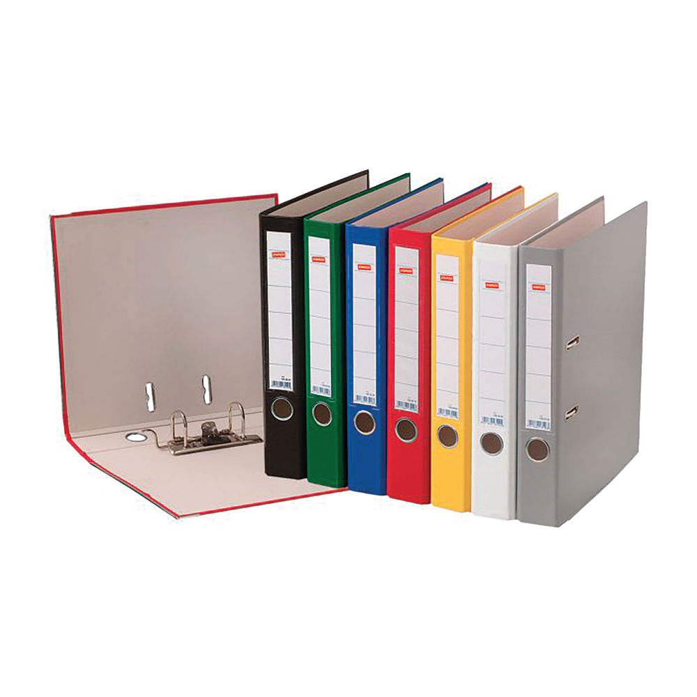 Staples Lever Arch File A4 75mm 2 Rings Capacity 350 Sheets Metal Bound Edges Black 22145STAP