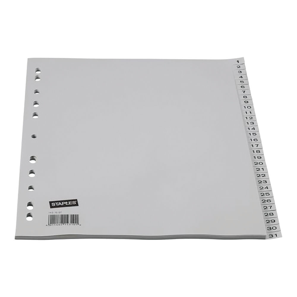 Staples Dividers 31-Part A4 Pre-printed 120 Micron Polypropylene Numeric Titles Grey 20067
